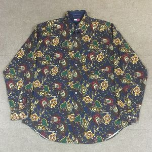Equestrian Button Down Long Sleeve Shirt